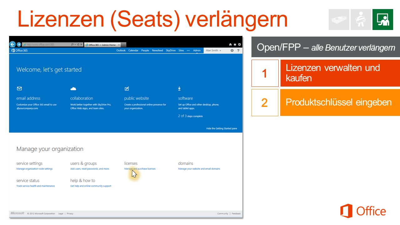 Open/FPP – alle Benutzer verlängern Lizenzen verwalten und kaufen http://www.office.com/365 Produktschlüssel eingeben