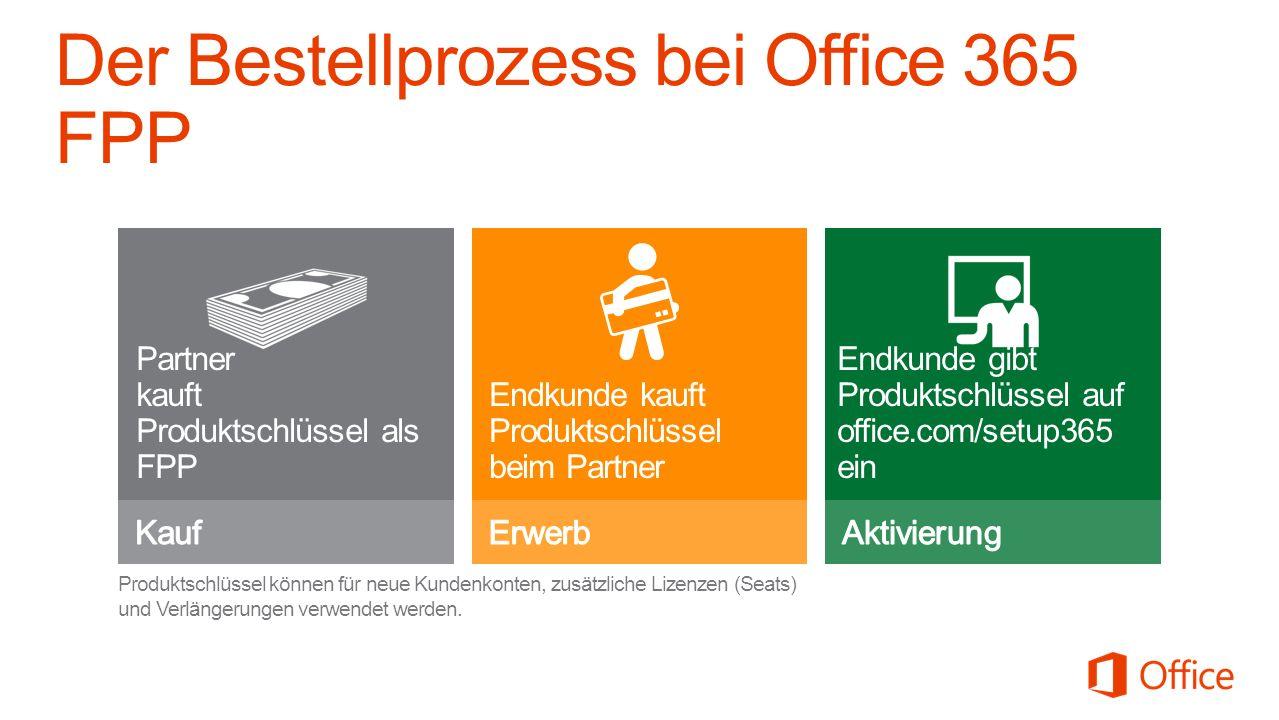 Der Bestellprozess bei Office 365 FPP Partner kauft Produktschlüssel als FPP Endkunde kauft Produktschlüssel beim Partner Endkunde gibt Produktschlüssel auf office.com/setup365 ein Produktschlüssel können für neue Kundenkonten, zusätzliche Lizenzen (Seats) und Verlängerungen verwendet werden.