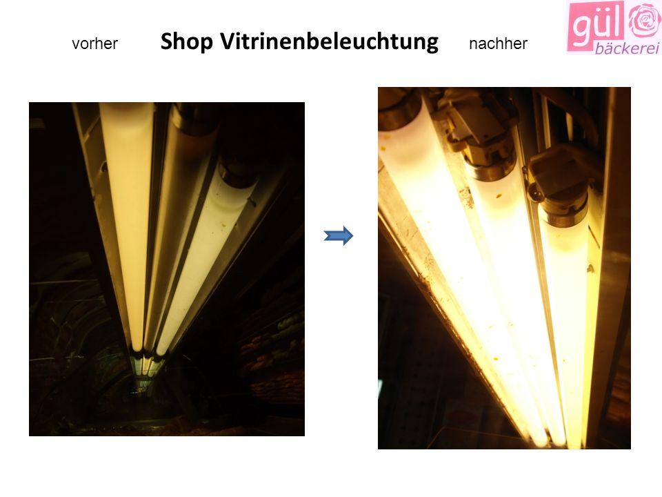 vorher Shop Vitrinenbeleuchtung nachher
