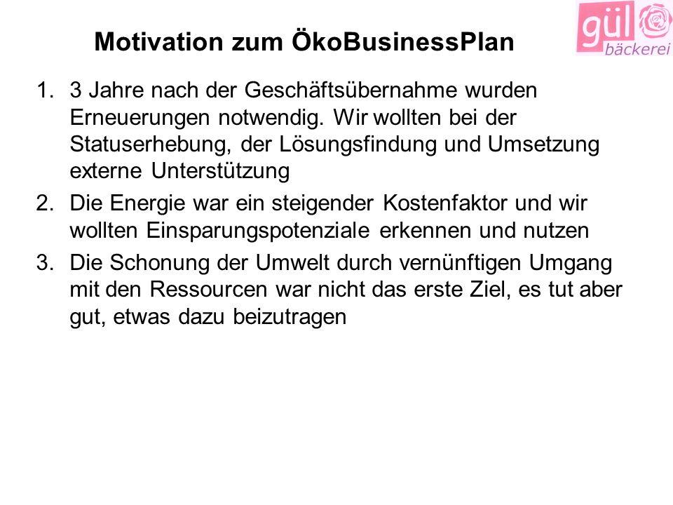 Motivation zum ÖkoBusinessPlan 1.3 Jahre nach der Geschäftsübernahme wurden Erneuerungen notwendig. Wir wollten bei der Statuserhebung, der Lösungsfin