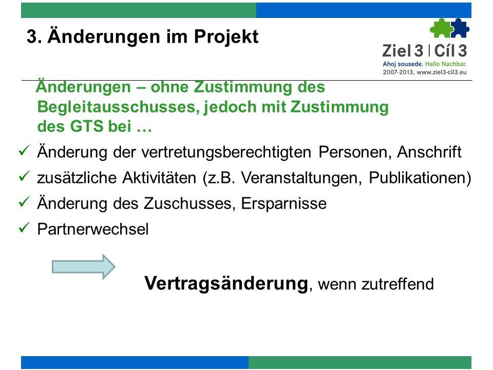 Änderungen – ohne Zustimmung des Begleitausschusses, jedoch mit Zustimmung des GTS bei … Änderung der vertretungsberechtigten Personen, Anschrift zusä