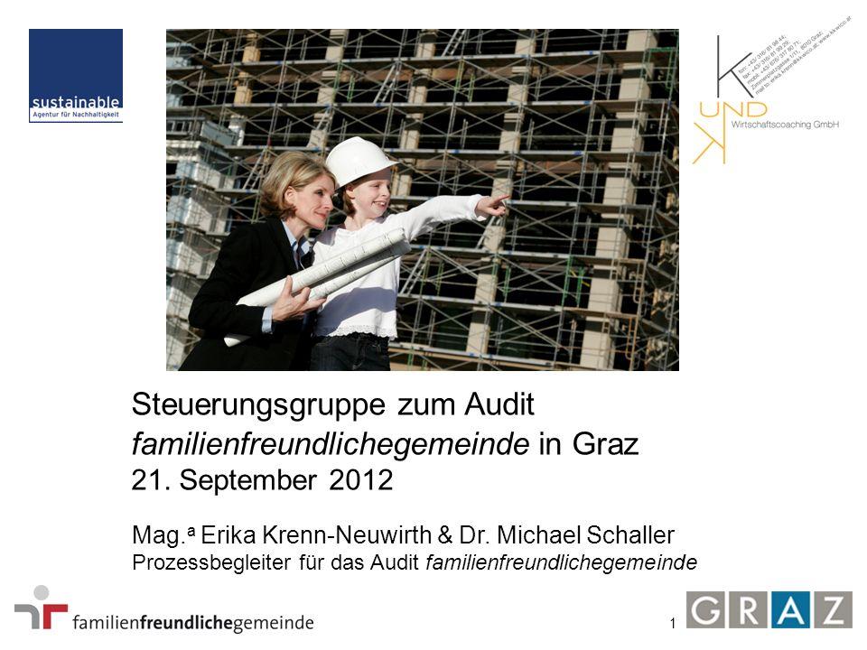 1 Steuerungsgruppe zum Audit familienfreundlichegemeinde in Graz 21. September 2012 Mag. a Erika Krenn-Neuwirth & Dr. Michael Schaller Prozessbegleite