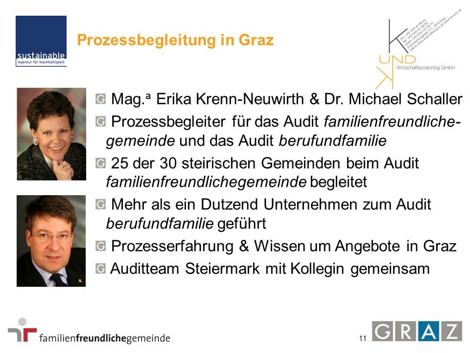 11 Prozessbegleitung in Graz Mag. a Erika Krenn-Neuwirth & Dr. Michael Schaller Prozessbegleiter für das Audit familienfreundliche- gemeinde und das A