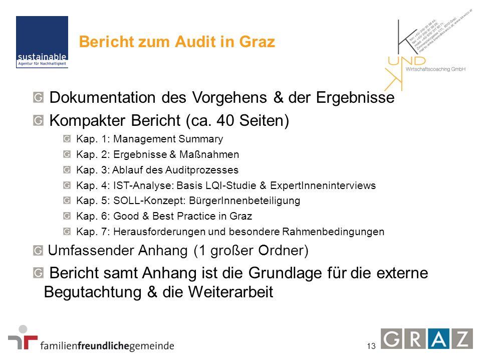 13 Bericht zum Audit in Graz Dokumentation des Vorgehens & der Ergebnisse Kompakter Bericht (ca. 40 Seiten) Kap. 1: Management Summary Kap. 2: Ergebni