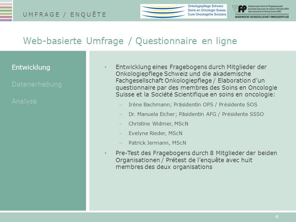 Entwicklung eines Fragebogens durch Mitglieder der Onkologiepflege Schweiz und die akademische Fachgesellschaft Onkologiepflege / Elaboration dun ques