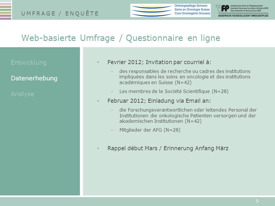 Fevrier 2012; Invitation par courriel à: – des responsables de recherche ou cadres des institutions impliquées dans les soins en oncologie et des inst