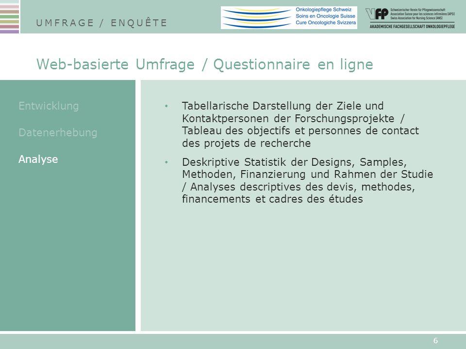 Tabellarische Darstellung der Ziele und Kontaktpersonen der Forschungsprojekte / Tableau des objectifs et personnes de contact des projets de recherch