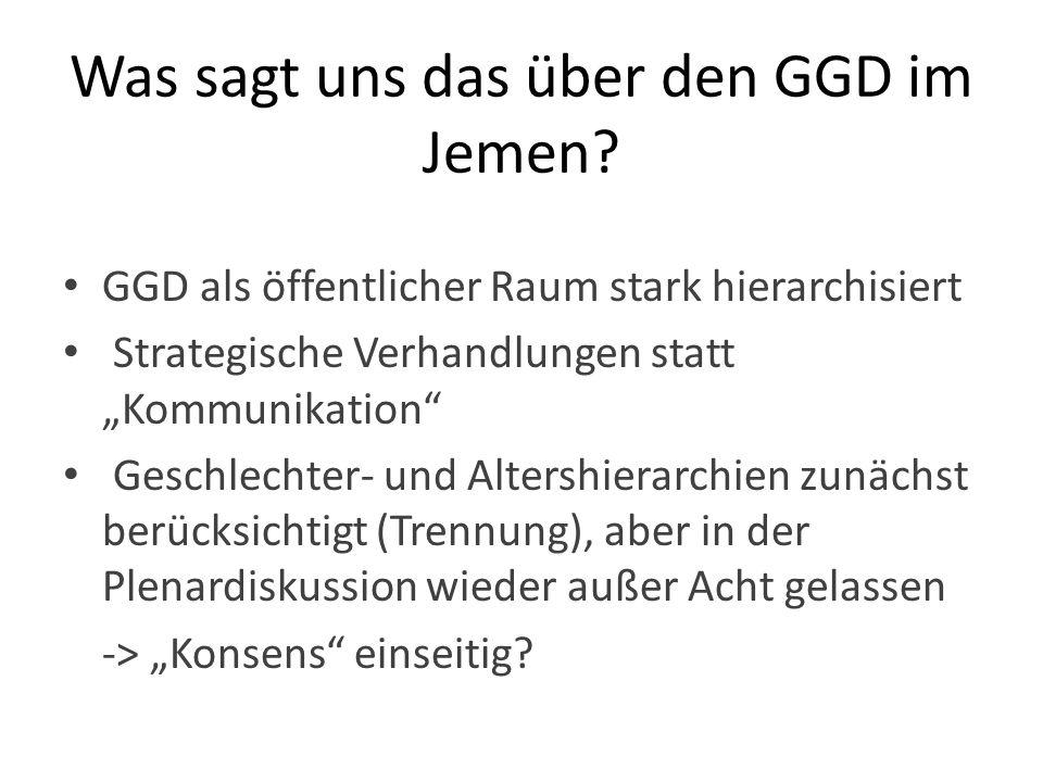 Was sagt uns das über den GGD im Jemen? GGD als öffentlicher Raum stark hierarchisiert Strategische Verhandlungen statt Kommunikation Geschlechter- un