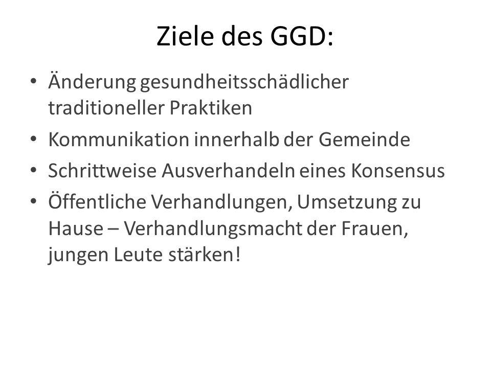 Ziele des GGD: Änderung gesundheitsschädlicher traditioneller Praktiken Kommunikation innerhalb der Gemeinde Schrittweise Ausverhandeln eines Konsensu