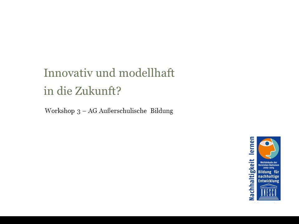 Innovativ und modellhaft in die Zukunft Workshop 3 – AG Außerschulische Bildung