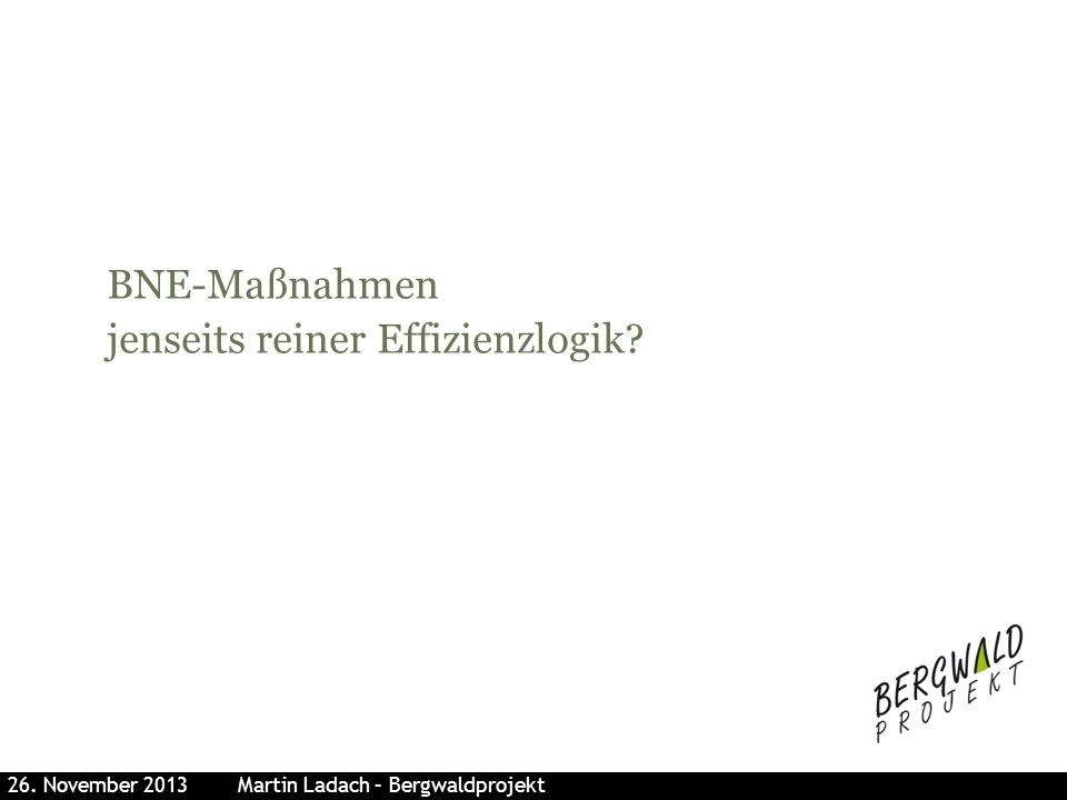 BNE-Maßnahmen jenseits reiner Effizienzlogik? 26. November 2013 Martin Ladach – Bergwaldprojekt