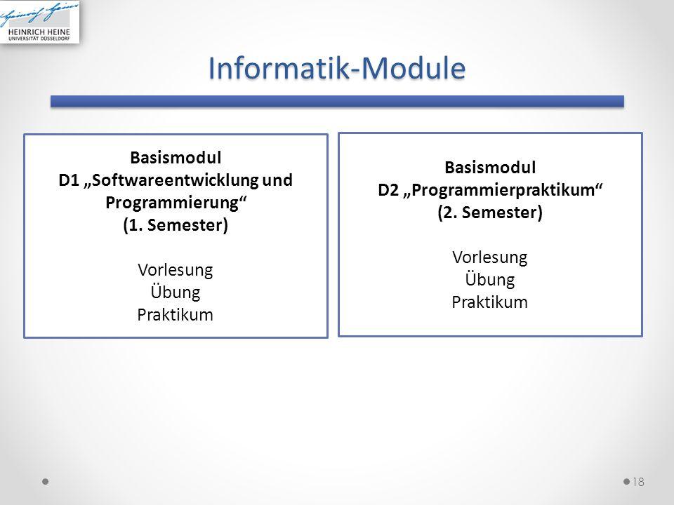 Informatik-Module 18 Basismodul D1 Softwareentwicklung und Programmierung (1. Semester) Vorlesung Übung Praktikum Basismodul D2 Programmierpraktikum (