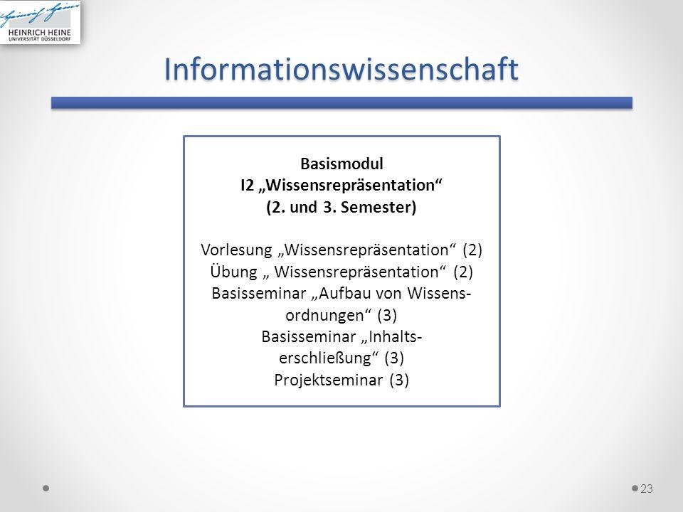 Informationswissenschaft 23 Basismodul I2 Wissensrepräsentation (2. und 3. Semester) Vorlesung Wissensrepräsentation (2) Übung Wissensrepräsentation (