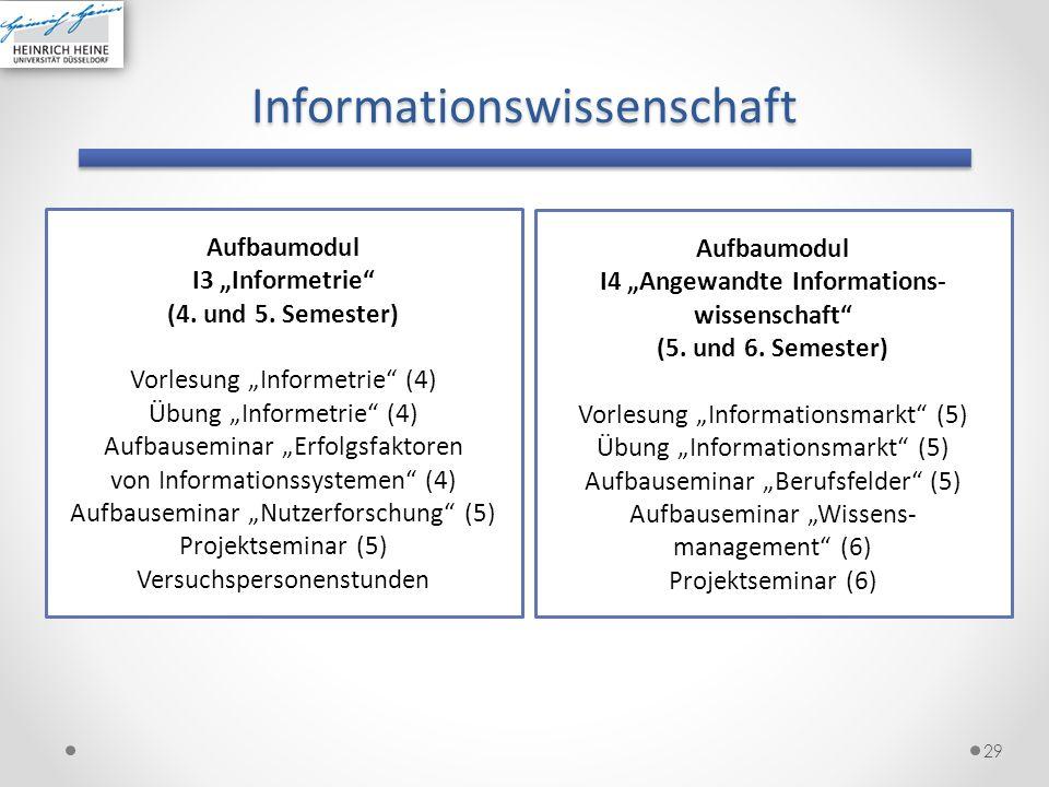 Informationswissenschaft 29 Aufbaumodul I3 Informetrie (4. und 5. Semester) Vorlesung Informetrie (4) Übung Informetrie (4) Aufbauseminar Erfolgsfakto