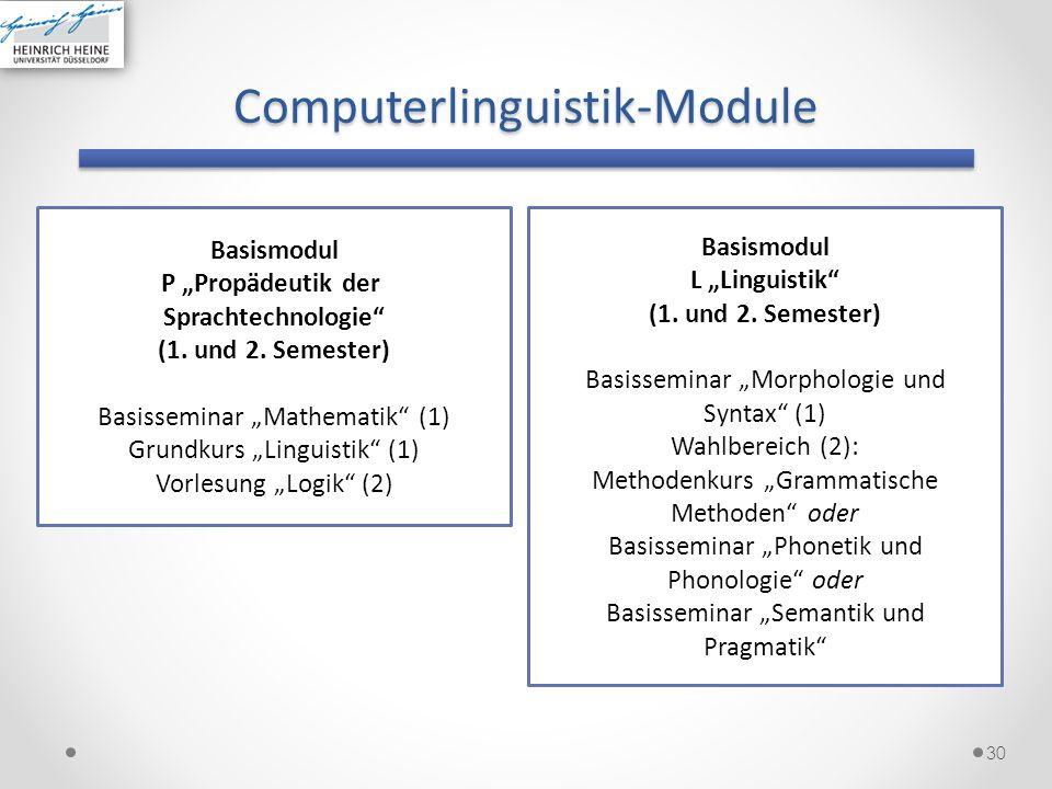 Computerlinguistik 31 Basismodul CL1 Computerlinguistik (2.