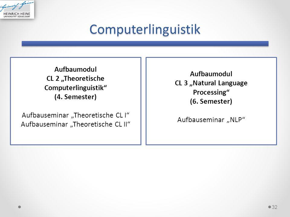 Computerlinguistik 32 Aufbaumodul CL 2 Theoretische Computerlinguistik (4. Semester) Aufbauseminar Theoretische CL I Aufbauseminar Theoretische CL II