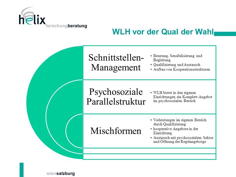 WLH vor der Qual der Wahl Schnittstellen- Management Psychosoziale Parallelstruktur Mischformen Beratung, Sensibilisierung und Begleitung Qualifizieru