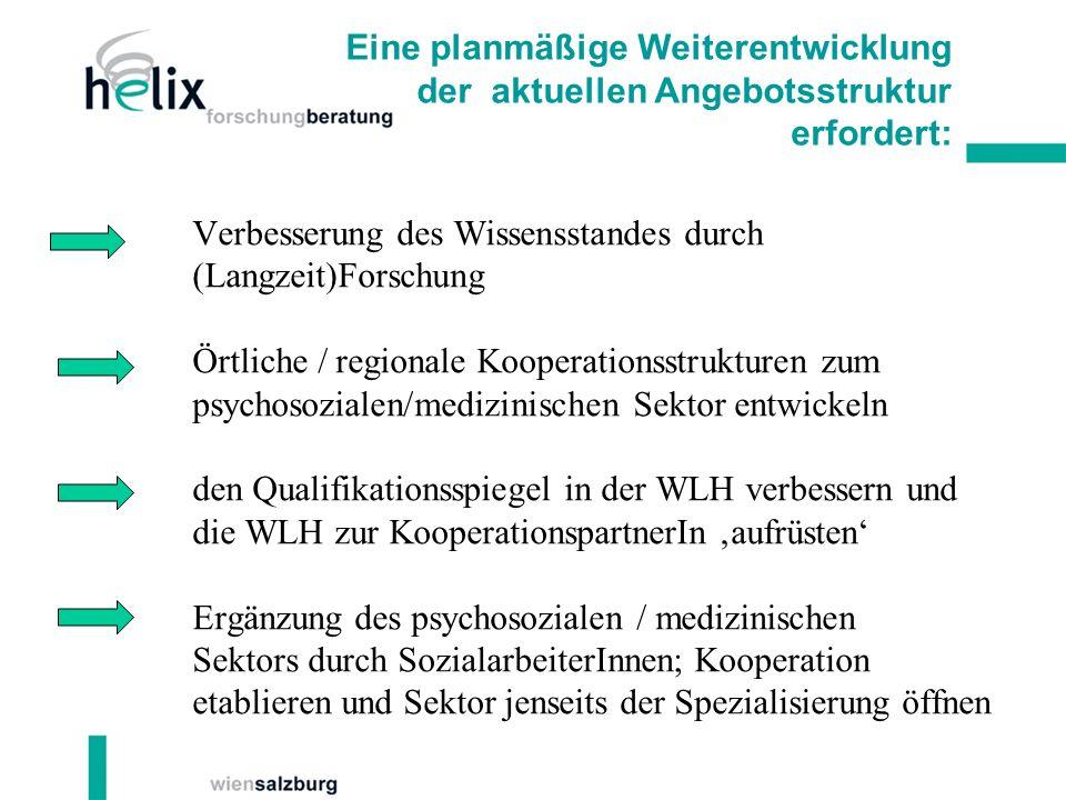 Verbesserung des Wissensstandes durch (Langzeit)Forschung Örtliche / regionale Kooperationsstrukturen zum psychosozialen/medizinischen Sektor entwicke