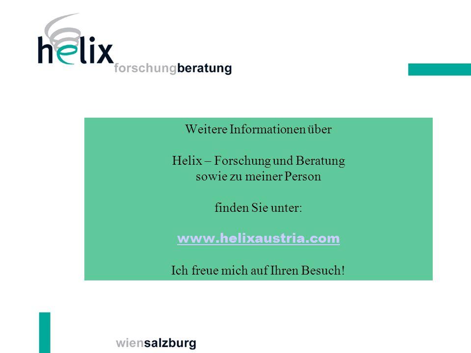 Weitere Informationen über Helix – Forschung und Beratung sowie zu meiner Person finden Sie unter: www.helixaustria.com Ich freue mich auf Ihren Besuc