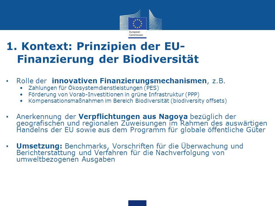 1. Kontext: Prinzipien der EU- Finanzierung der Biodiversität Rolle der innovativen Finanzierungsmechanismen, z.B. Zahlungen für Ökosystemdienstleistu