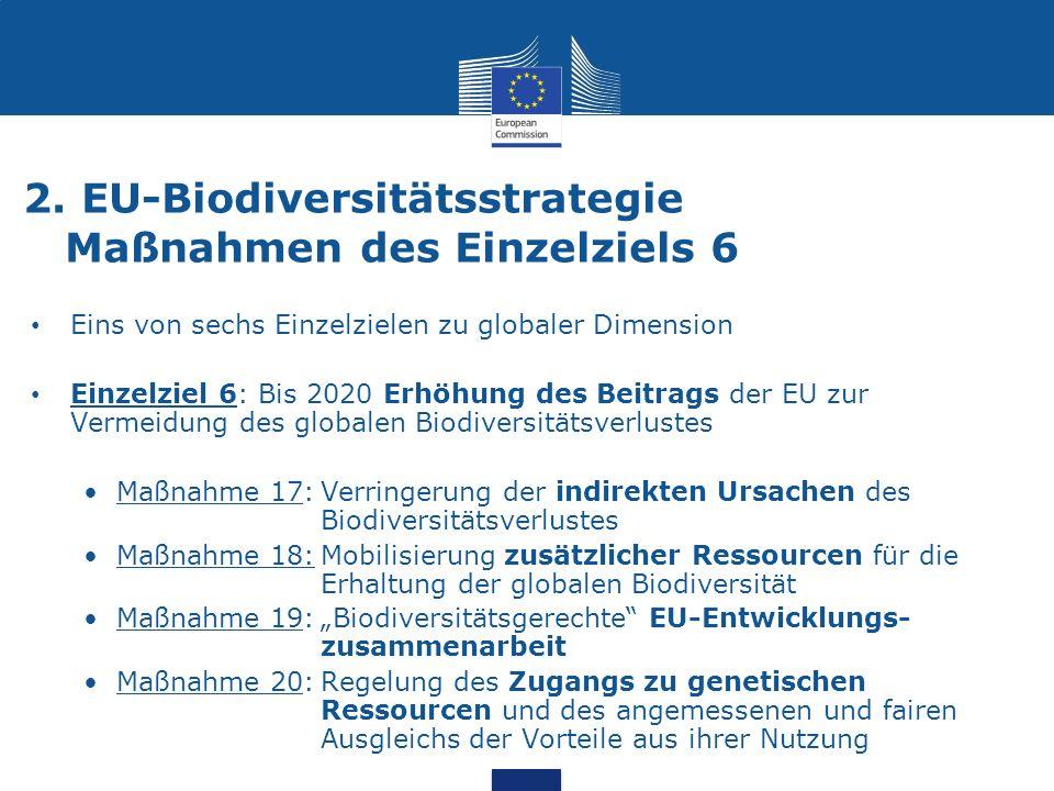 2. EU-Biodiversitätsstrategie Maßnahmen des Einzelziels 6 Eins von sechs Einzelzielen zu globaler Dimension Einzelziel 6: Bis 2020 Erhöhung des Beitra