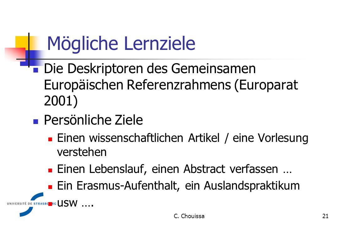 Mögliche Lernziele Die Deskriptoren des Gemeinsamen Europäischen Referenzrahmens (Europarat 2001) Persönliche Ziele Einen wissenschaftlichen Artikel / eine Vorlesung verstehen Einen Lebenslauf, einen Abstract verfassen … Ein Erasmus-Aufenthalt, ein Auslandspraktikum usw ….