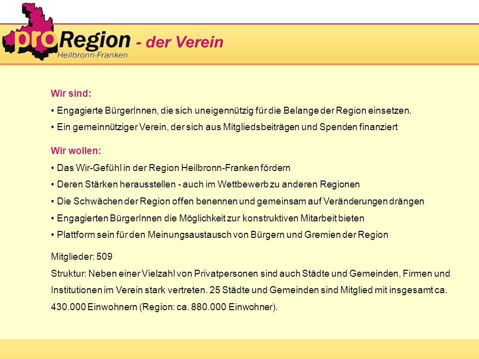 Wir sind: Engagierte BürgerInnen, die sich uneigennützig für die Belange der Region einsetzen. Ein gemeinnütziger Verein, der sich aus Mitgliedsbeiträ