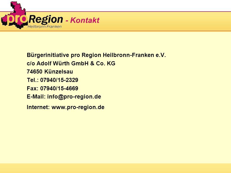 - Kontakt Bürgerinitiative pro Region Heilbronn-Franken e.V. c/o Adolf Würth GmbH & Co. KG 74650 Künzelsau Tel.: 07940/15-2329 Fax: 07940/15-4669 E-Ma