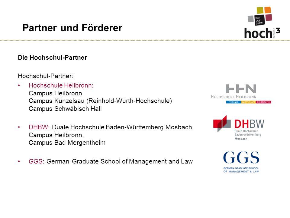 Partner und Förderer Die Hochschul-Partner Hochschul-Partner: Hochschule Heilbronn: Campus Heilbronn Campus Künzelsau (Reinhold-Würth-Hochschule) Camp