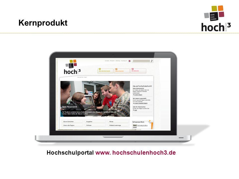 Kernprodukt Hochschulportal www. hochschulenhoch3.de