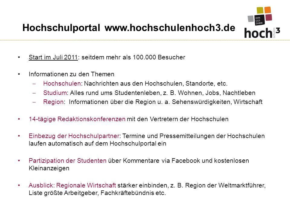 Start im Juli 2011: seitdem mehr als 100.000 Besucher Informationen zu den Themen Hochschulen: Nachrichten aus den Hochschulen, Standorte, etc.