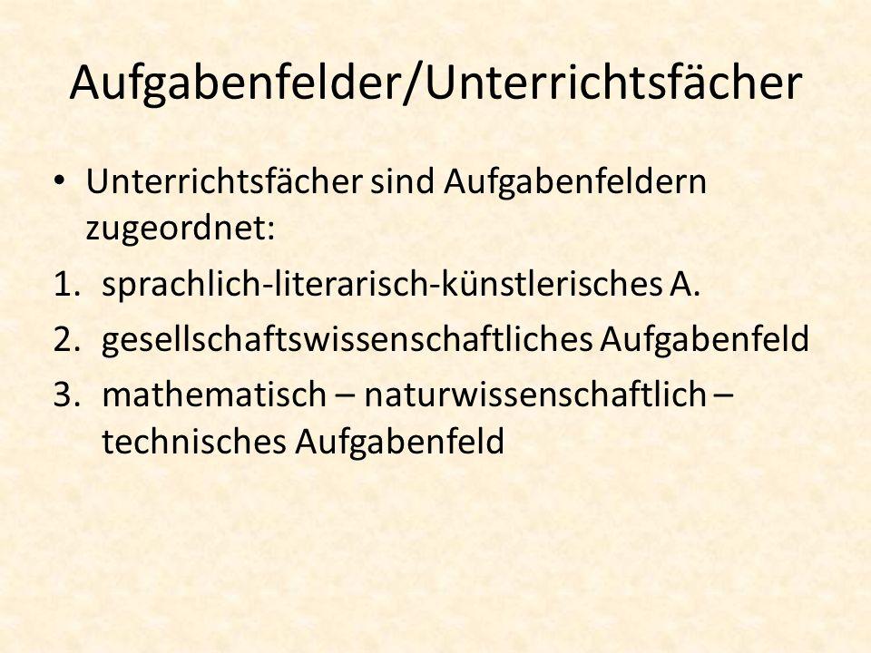 Aufgabenfelder/Unterrichtsfächer Unterrichtsfächer sind Aufgabenfeldern zugeordnet: 1.sprachlich-literarisch-künstlerisches A. 2.gesellschaftswissensc
