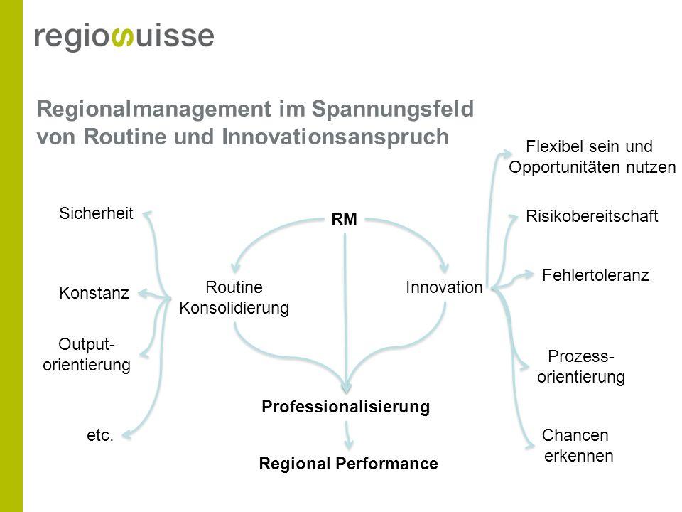 Regionalmanagement im Spannungsfeld von Routine und Innovationsanspruch RM Routine Konsolidierung Innovation Sicherheit Konstanz Risikobereitschaft Pr