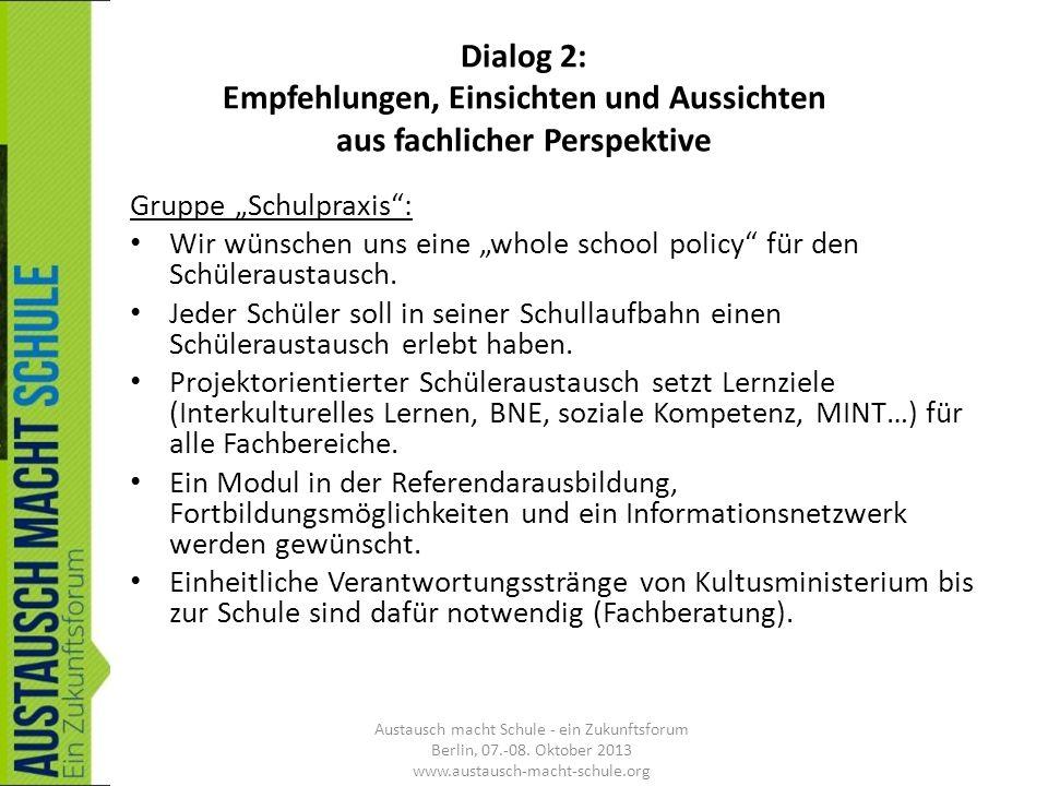 Dialog 2: Empfehlungen, Einsichten und Aussichten aus fachlicher Perspektive Gruppe Schulpraxis: Wir wünschen uns eine whole school policy für den Sch