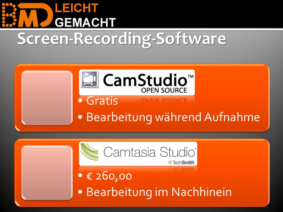 Gratis Bearbeitung während Aufnahme 260,00 Bearbeitung im NachhineinScreen-Recording-Software