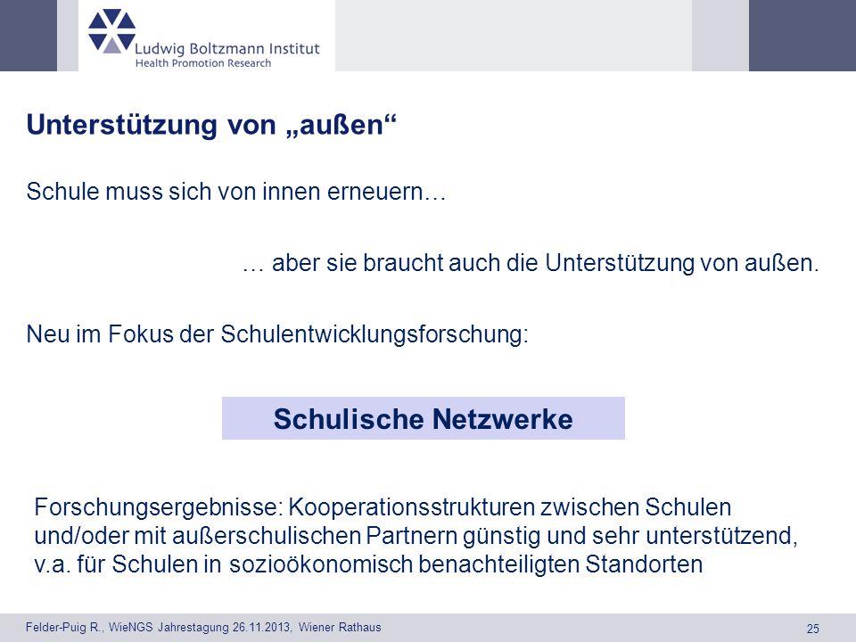 25 Felder-Puig R., WieNGS Jahrestagung 26.11.2013, Wiener Rathaus Unterstützung von außen Schule muss sich von innen erneuern… … aber sie braucht auch die Unterstützung von außen.
