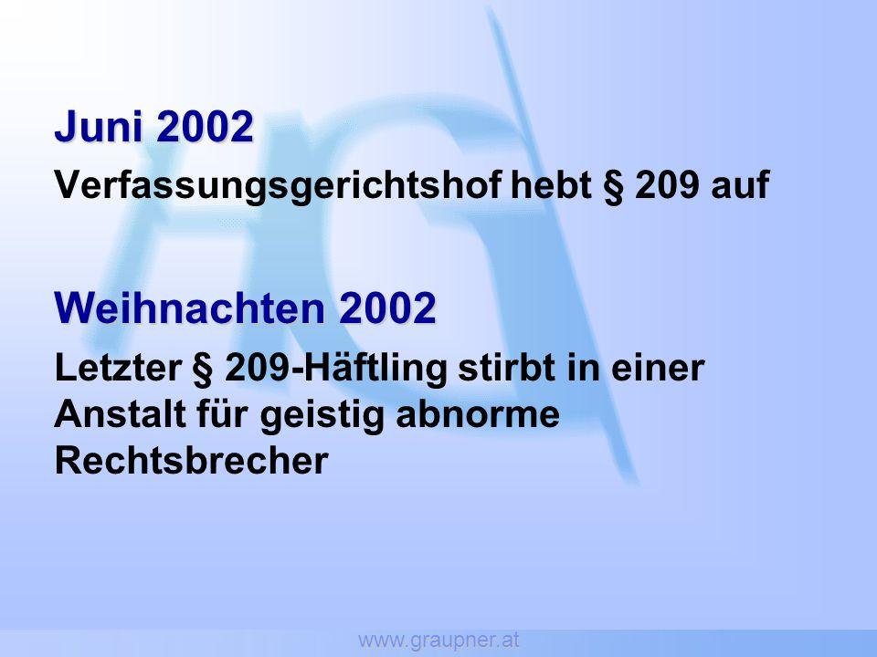 www.graupner.at Juni 2002 Verfassungsgerichtshof hebt § 209 auf Weihnachten 2002 Letzter § 209-Häftling stirbt in einer Anstalt für geistig abnorme Re