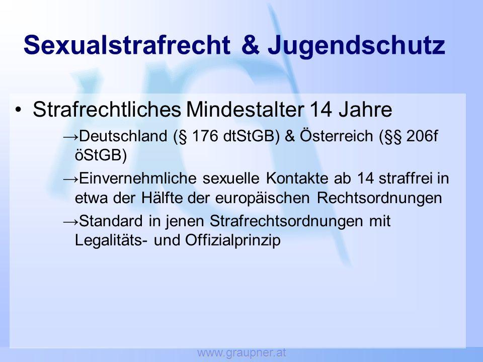 www.graupner.at Sexualstrafrecht & Jugendschutz Strafrechtliches Mindestalter 14 Jahre Deutschland (§ 176 dtStGB) & Österreich (§§ 206f öStGB) Einvern