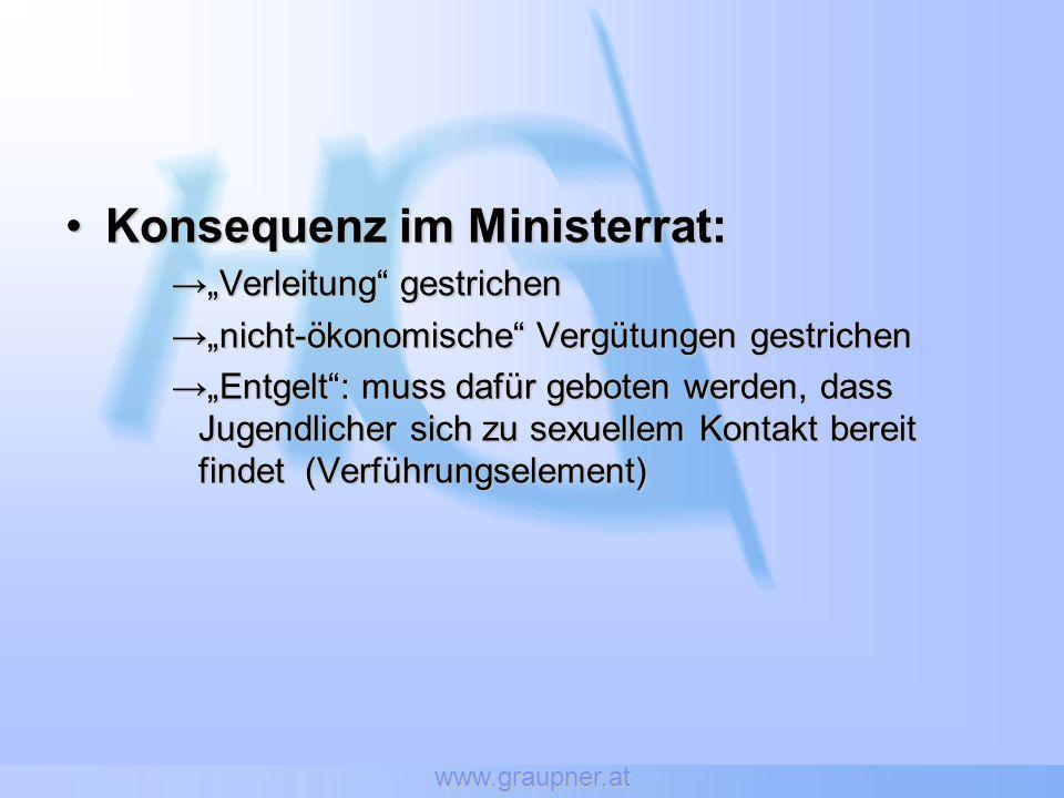 www.graupner.at Konsequenz im Ministerrat:Konsequenz im Ministerrat: Verleitung gestrichenVerleitung gestrichen nicht-ökonomische Vergütungen gestrich