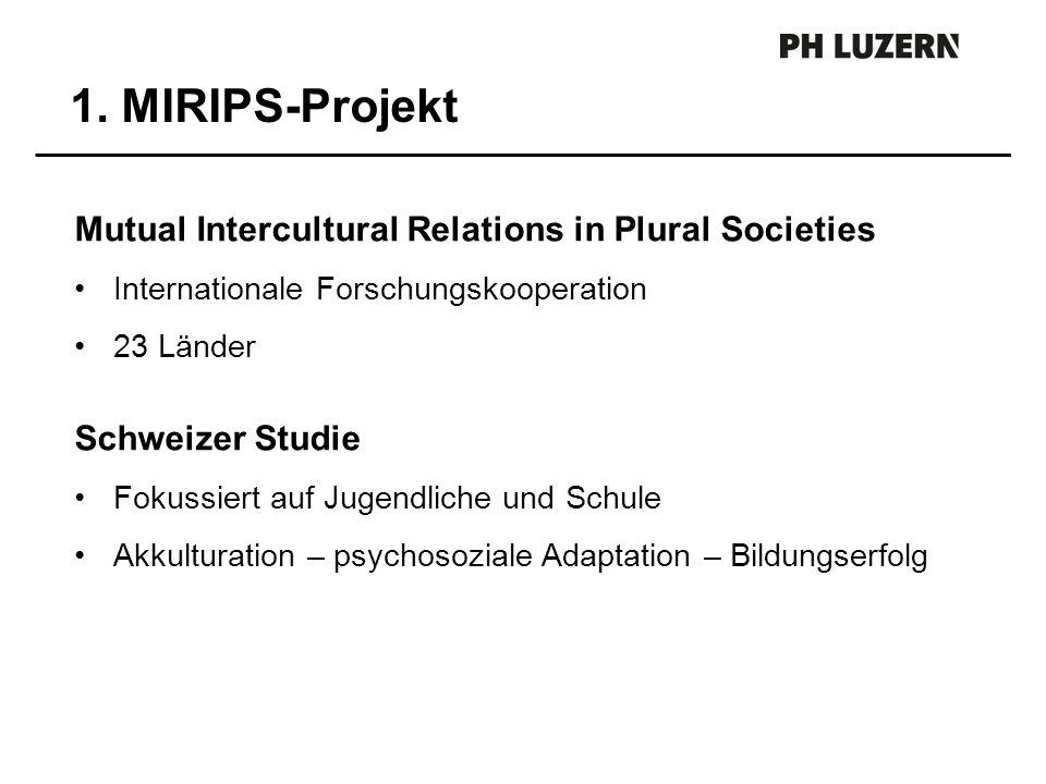 Mutual Intercultural Relations in Plural Societies Internationale Forschungskooperation 23 Länder Schweizer Studie Fokussiert auf Jugendliche und Schu