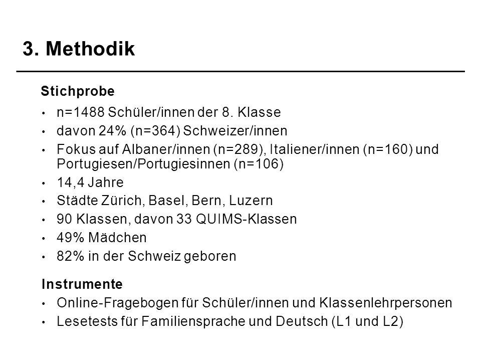 n=1488 Schüler/innen der 8. Klasse davon 24% (n=364) Schweizer/innen Fokus auf Albaner/innen (n=289), Italiener/innen (n=160) und Portugiesen/Portugie