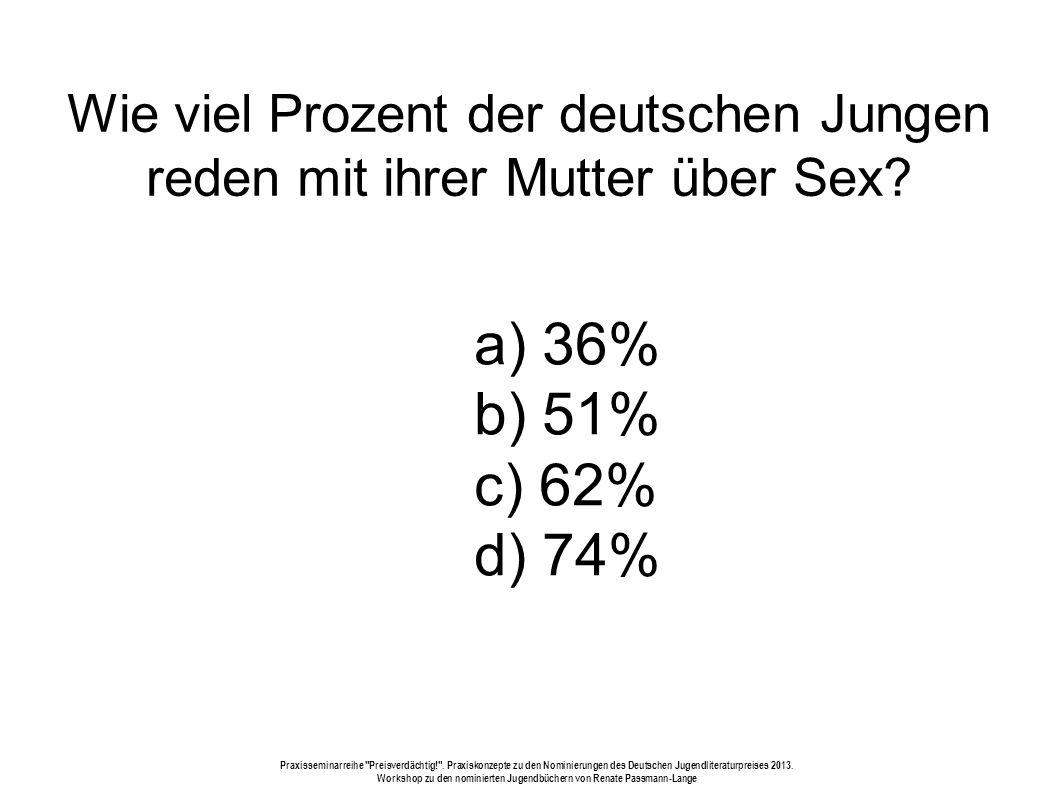 Wie viel Prozent der deutschen Jungen reden mit ihrer Mutter über Sex.