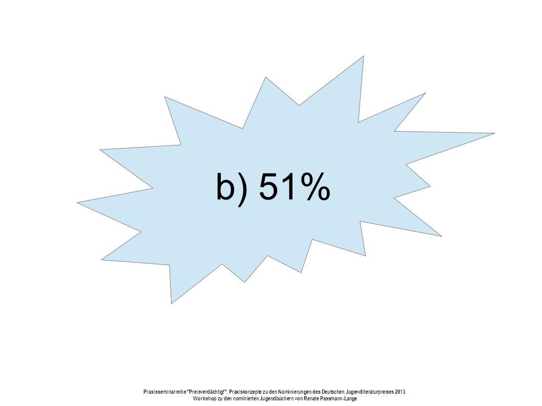b) 51% Praxisseminarreihe Preisverdächtig! .
