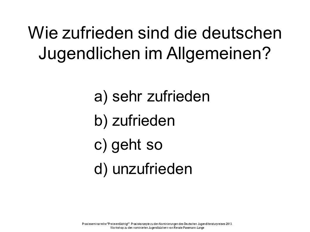 Wie zufrieden sind die deutschen Jugendlichen im Allgemeinen.