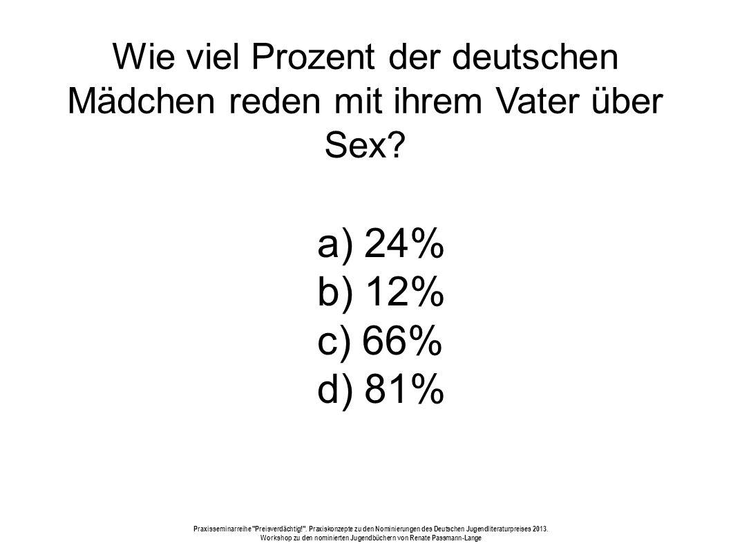 Wie viel Prozent der deutschen Mädchen reden mit ihrem Vater über Sex.