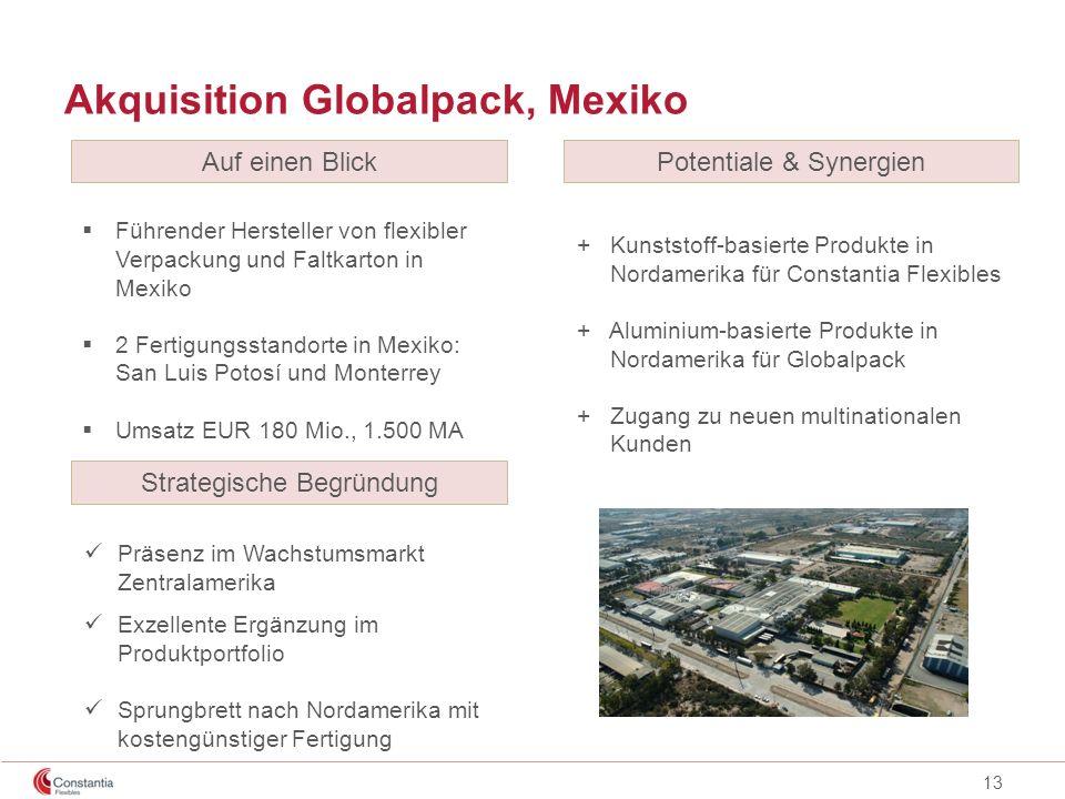 13 Akquisition Globalpack, Mexiko Führender Hersteller von flexibler Verpackung und Faltkarton in Mexiko 2 Fertigungsstandorte in Mexiko: San Luis Pot
