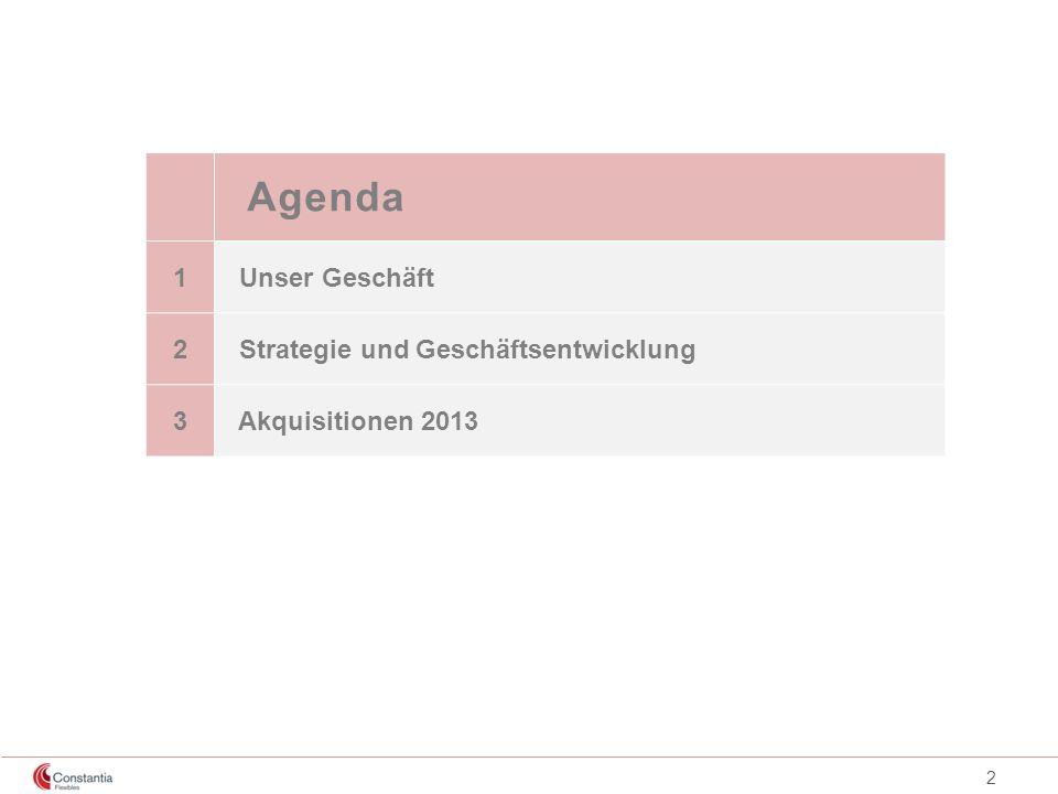 2 Agenda 1 Unser Geschäft 2 Strategie und Geschäftsentwicklung 3 Akquisitionen 2013