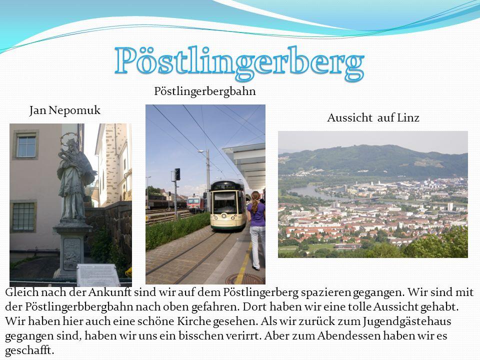 Jan Nepomuk Aussicht auf Linz Pöstlingerbergbahn Gleich nach der Ankunft sind wir auf dem Pöstlingerberg spazieren gegangen.