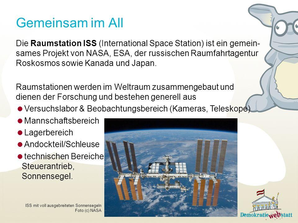 Gemeinsam im All Die Raumstation ISS (International Space Station) ist ein gemein- sames Projekt von NASA, ESA, der russischen Raumfahrtagentur Roskosmos sowie Kanada und Japan.