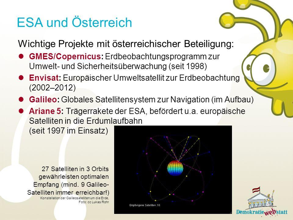 ESA und Österreich Wichtige Projekte mit österreichischer Beteiligung: GMES/Copernicus: Erdbeobachtungsprogramm zur Umwelt- und Sicherheitsüberwachung (seit 1998) Envisat: Europäischer Umweltsatellit zur Erdbeobachtung (2002–2012) Galileo: Globales Satellitensystem zur Navigation (im Aufbau) Ariane 5: Trägerrakete der ESA, befördert u.a.